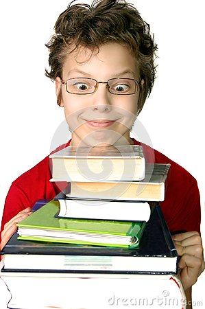 Funny boy with set of books