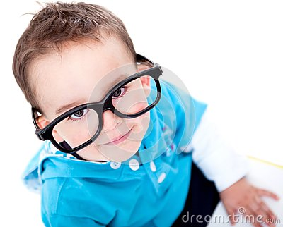 Funny boy wearing glasses