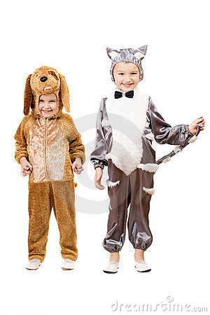 Funny boys dressed as a cat and dog