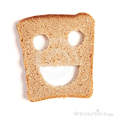 Funny bread slice on white