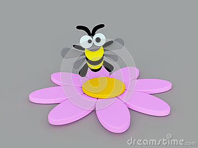 Funny bumblebee and Pink flower