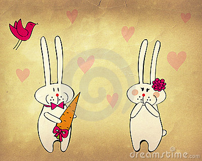 Funny bunnies in love