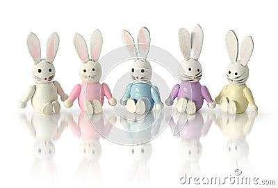 Funny bunnies in row