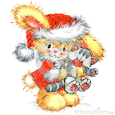 Free Funny Bunny And Christmas Watercolor Background Stock Photo - 62585830