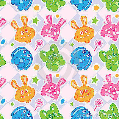 Funny bunny seamless wallpaper