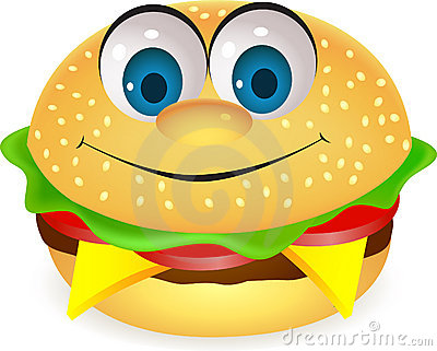 Funny burger cartoon