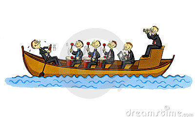 Funny Business Cartoon Of A Row Boat Stock Photo - Image: 12576120