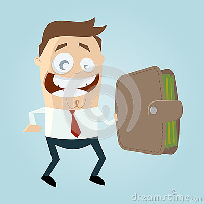 Funny business man with big wallet