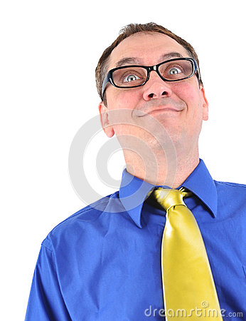 Funny Business Man Geek with Glasses