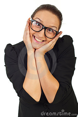 Funny business woman with eyeglasses