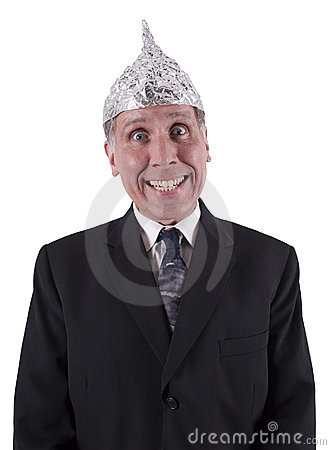 Free Funny Businessman Aluminum Hat, Mind Control Stock Photo - 17817410