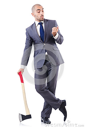 Funny businessman with axe