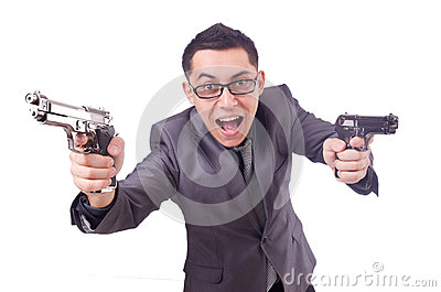 Funny businessman with gun