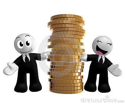 Funny businessman icon with gold coins