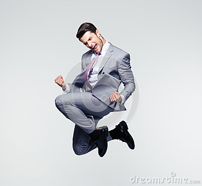 Free Funny Businessman Jumping In Air Stock Image - 55129531