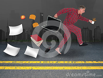 Funny Businessman Late For Work, Job