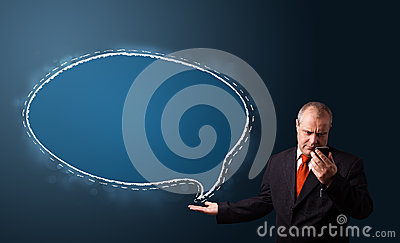 Funny businessman presenting speech bubble c