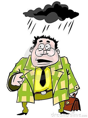 Funny businessman standing under a black cloud