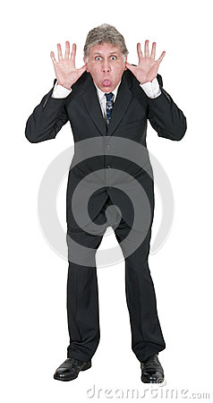 Funny Businessman Stick Out Tongue Isolated