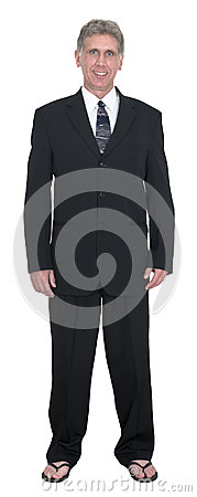 Funny Businessman Wear Suit, Tie, Flip Flops, Isolated