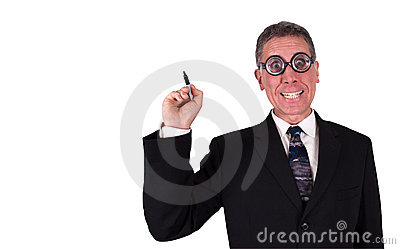 Funny Businessman Write Draw Copy Space