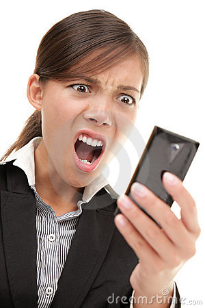 Funny businesswoman reading bad news text message