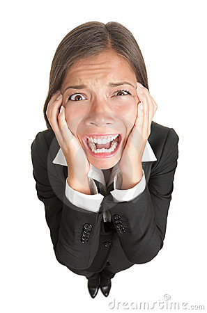Funny businesswoman with stress isolated