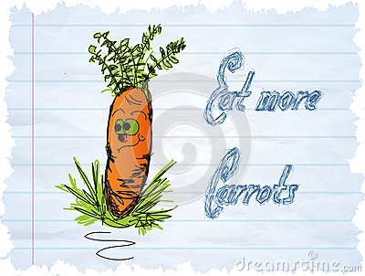 Funny carrot cartoon on blue background