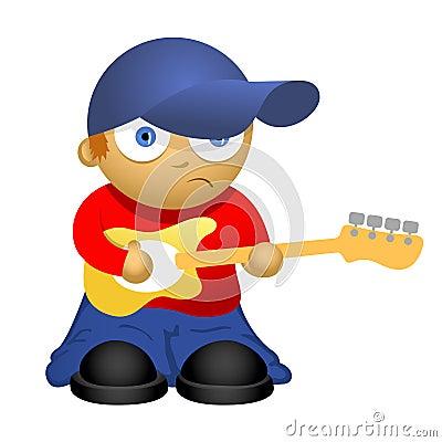 Free Funny Cartoon Bass-guitar Player Stock Image - 34043571