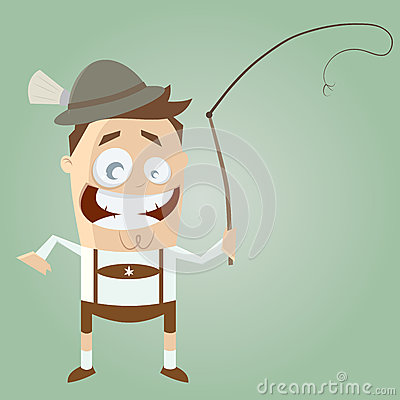 Funny cartoon bavarian in lederhosen with traditional whip