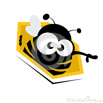 Funny cartoon bee in honeycomb