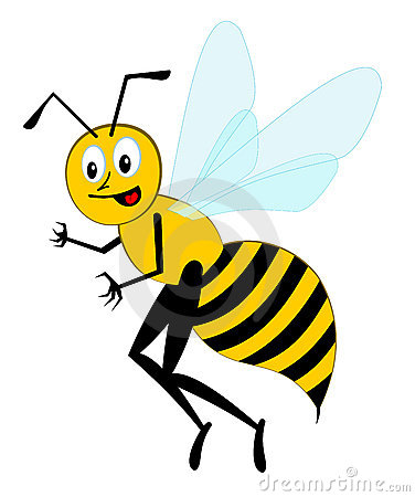 Funny cartoon bee (vector)