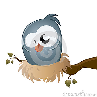 Funny cartoon bird sitting in a nest