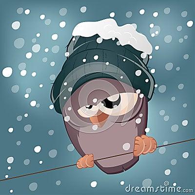 Funny cartoon bird in winter