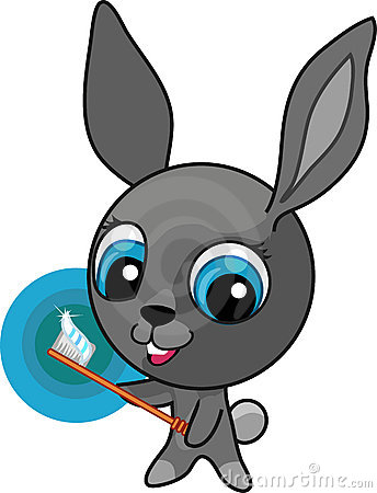 Funny cartoon bunny with toothbrush