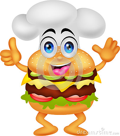 Funny Cartoon Burger Chef Character Royalty Free Stock Photography ...