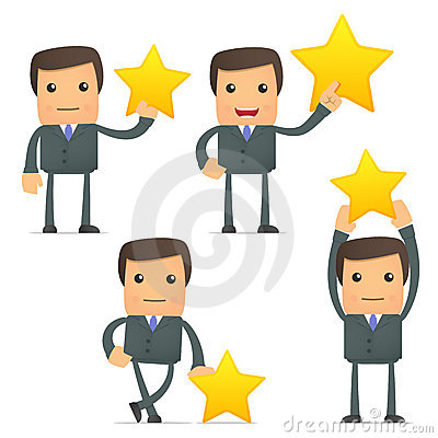 Funny cartoon businessman holding a favorite star