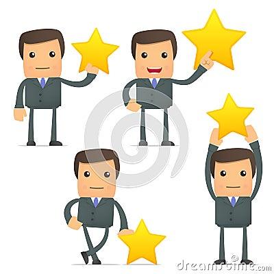 Funny cartoon businessman holding a favorite star