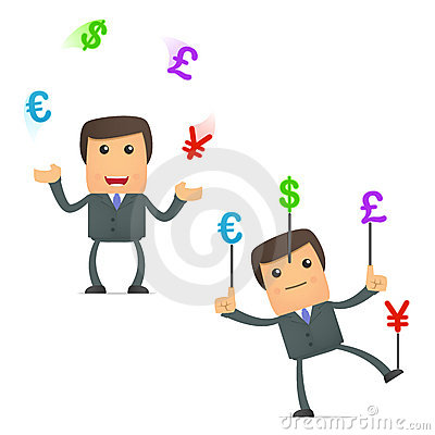 Funny cartoon businessman juggling currency