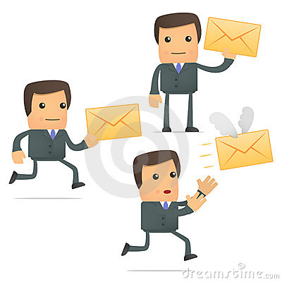 Funny cartoon businessman with a letter
