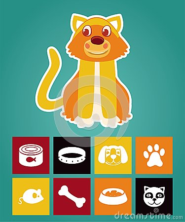 Funny cartoon cat and  icons