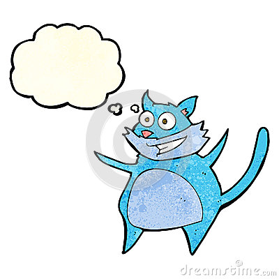 Free Funny Cartoon Cat With Thought Bubble Stock Image - 52910021