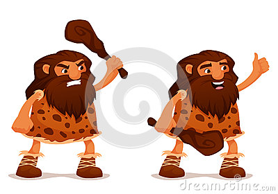 Funny cartoon caveman with a club