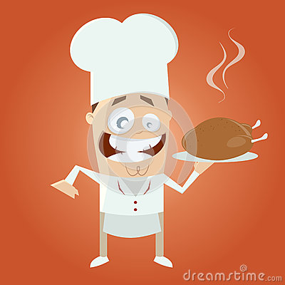 Funny cartoon chef with roast