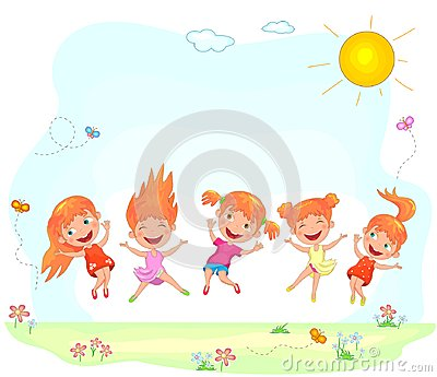 Joyful and happy children jumping on the grass Vector Illustration