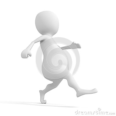 Funny cartoon 3D character walking on white background