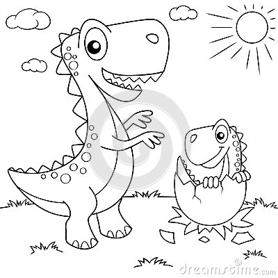 Funny cartoon dinosaur and his nest with little dino. Black and white vector illustration for coloring book Vector Illustration