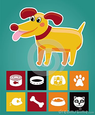 Funny cartoon dog and  icons