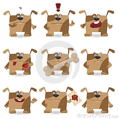 Funny cartoon dog set