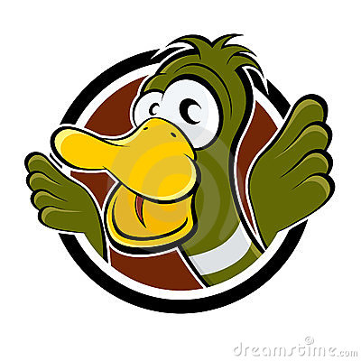 Funny cartoon duck